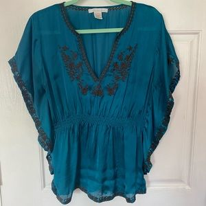 Embroidered Blue Dolman Blouse